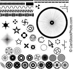 conjunto, -, vector, diseño, engranajes, ruedas, elementos