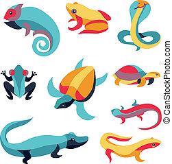 conjunto, -, vector, diseño, logotipo, elementos, reptiles