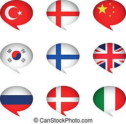 conjunto, vector, icono, idioma