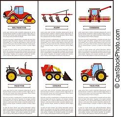 conjunto, vector, maquinaria, agrícola, bandera, caricatura