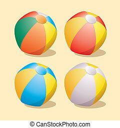 conjunto, vector, pelotas playa