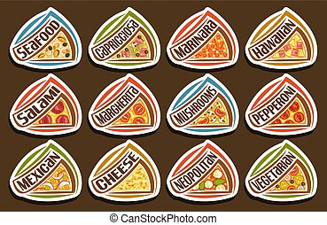 conjunto, vector, pizza