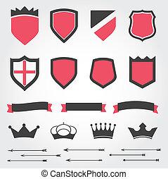 conjunto, vector, protectores, heráldico, coronas