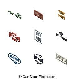 conjunto, vector, radio, iconos, 3d, illustration.