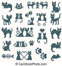 conjunto, vector, retro, pixel, gato