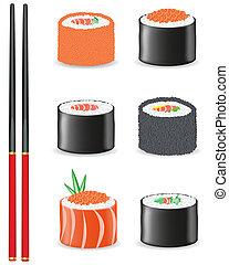 conjunto, vector, sushi, ilustración, iconos