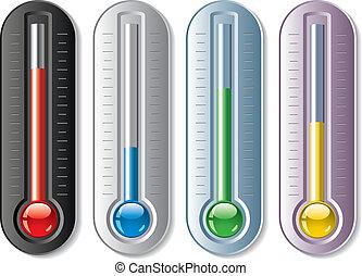 conjunto, vector, termómetros