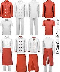 conjunto, vector., uniforms., -, delantales, cocinero, ropa