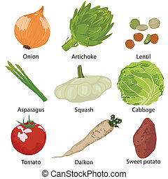 conjunto, vegetales, aislado