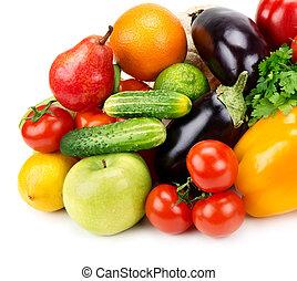 conjunto, vegetales, aislado, plano de fondo, fruits, blanco