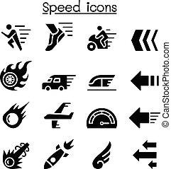 conjunto, velocidad, icono