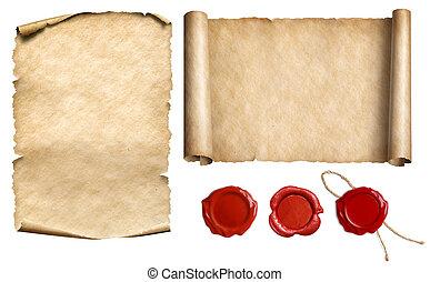 conjunto, vendimia, cera, papiro, ilustración, aislado,...