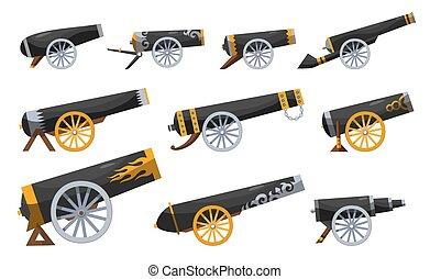conjunto, vendimia, fondo., barcos, cañón, color, estilo, viejo, imagen, gun., cannons., blanco, antigüedad, pirata, caricatura, medieval