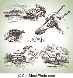 conjunto, vendimia, mano, dibujado, japonés