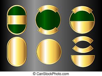 conjunto, verde, insignias, oro