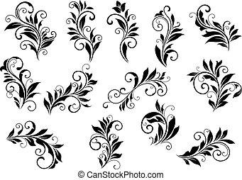 conjunto, viñetas, foliate, retro, motivos, floral