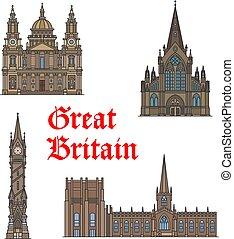 conjunto, viaje, británico, arquitectura, señal, icono