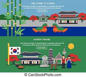 conjunto, viaje, cultura coreana, banderas horizontales