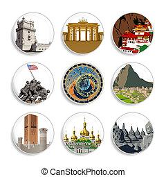 conjunto, viaje destino, 4, |, insignias
