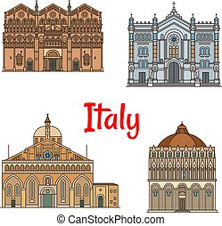 conjunto, viaje, diseño, delgado, señal, línea, icono, italiano
