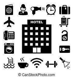 conjunto, viaje, icono, hotel