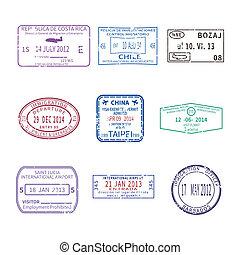 conjunto, viaje, sellos, vector, pasaporte, internacional, ...