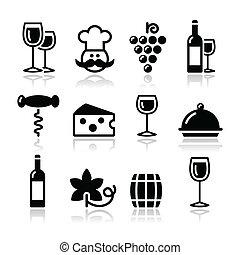 conjunto, vidrio, iconos, -, botella, vino