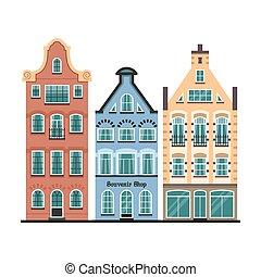 conjunto, viejo, fachadas, casas, 3, amsterdam, caricatura