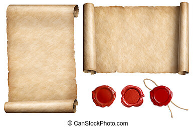Conjunto, viejo,  parchments, cera, aislado, Ilustración, sellos, papel, carta, sello,  3D
