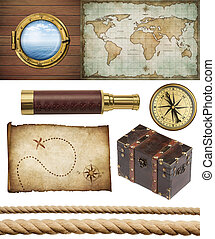 conjunto, viejo, piratas, spyglass, sogas, tesoro, ventana,...
