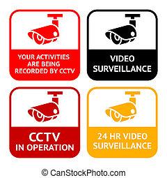 conjunto, vigilancia, cctv, símbolo, pictogram, cámara, vídeo, seguridad