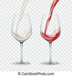 conjunto, vino blanco, transparente, rojo, anteojos