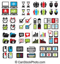 conjunto, web-computer, iconos