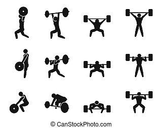 conjunto, weightlifting, icono