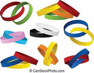 conjunto, wristbands, colorido