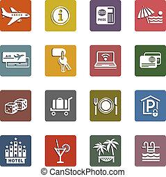 conjunto, y, iconos de viajar, vacaciones, recreación