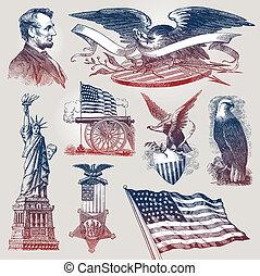 conjunto, y, norteamericano, símbolos, emblemas, vector,...