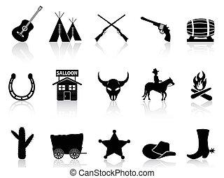 conjunto, y, oeste, iconos, vaqueros, salvaje