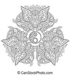 conjunto, yin, símbolo., máscaras, tres, yang