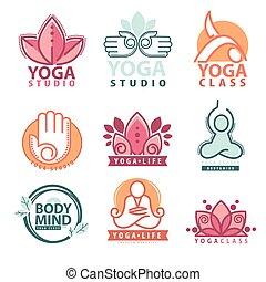 conjunto, yoga, símbolos, gráficos, logotipo, meditación
