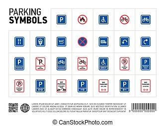 conjunto, zona, aislado, señal, estacionamiento, icono