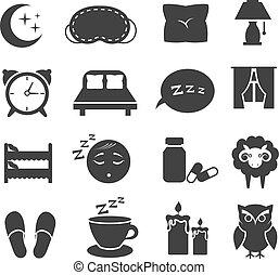 conjunto, zzz, iconos, luna, relajar, búho, cama, símbolos, ...