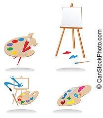 conjuntos, vector, artists., ilustración, iconos