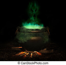 bubbling iron cauldron with green smoke and evil spirit rising