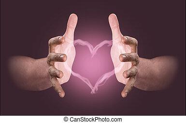 conjurer, coeur, vapeur, mains