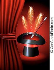 Conjurer hat with magic fireworks
