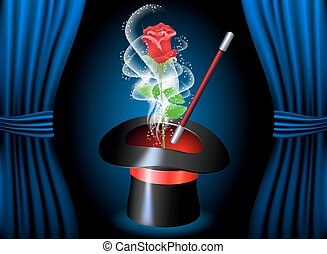 Conjurer hat with magic rose and smoke