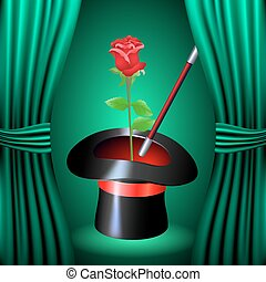 Conjurer hat with magic rose