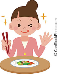 conmoción vegetal fríe, mujer que come