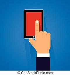 conmovedor, smartphone, caricatura, mano